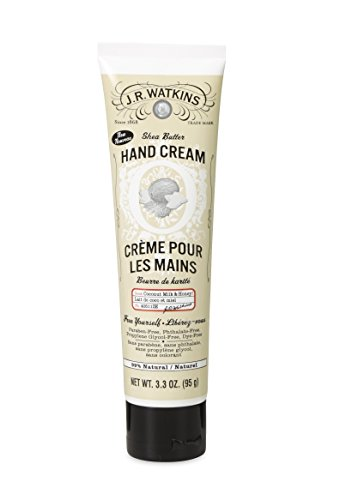 J.R. Watkins Natural Shea Butter Hand Cream, Coconut, 3.3 Ounce