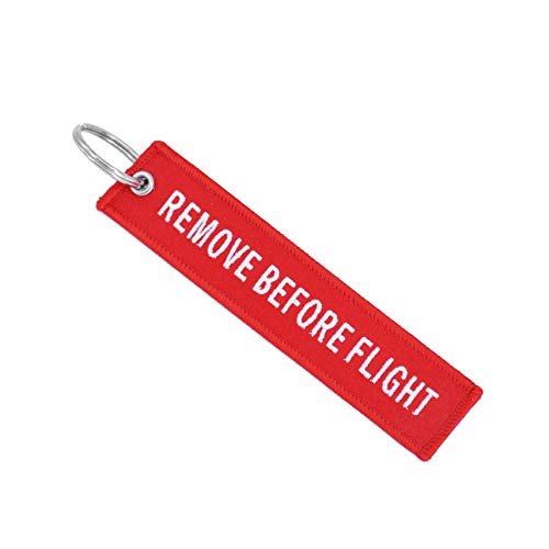 HibiscusElla Remove Before Flight Key Chain Embroidery Key Ring Key Finder for Cars Aviation Tag Key Chain Small Business Gift