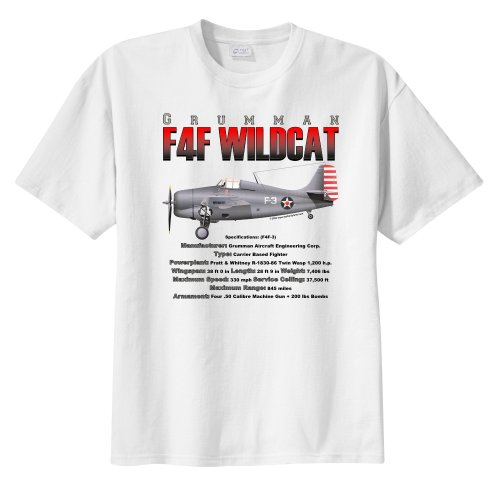 F4f Wildcat Fighter - WarbirdShirts™ Men's Grumman F4F Wildcat Fighter Short Sleeve T-Shirt White XL