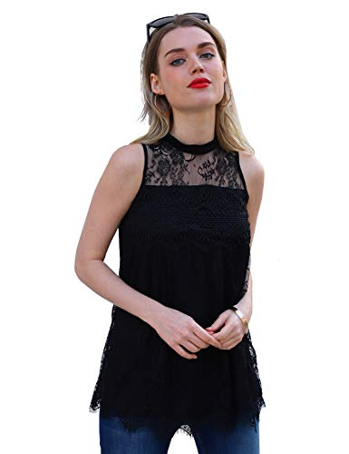 - Blooming Jelly Women's Casual High Neck Sleeveless Lace Top Keyhole Crochet Blouse Pleated Flowy Tunic Shirt(Black, L)