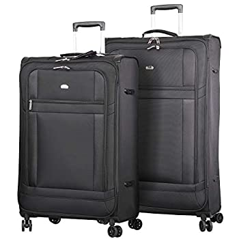 Image of Lightweight Large Luggage Sets 2 piece - Reinforced Suitcases Set (Black) Luggage