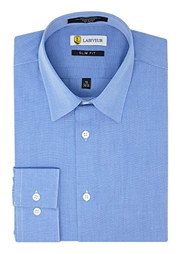 Labiyeur Slim Fit Button Cuff Semi Spread Collar Men's Dress Shirt 17.5 | 36-37 Light Denim Blue