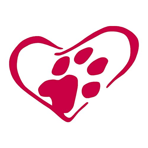 "Dog Paw Print Heart - Vinyl Decal Sticker - 7.75"" x 5.75"" - Red from Southern Decalz"