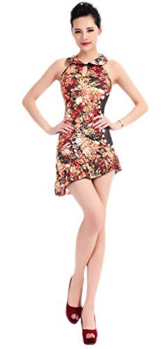Dos Nu Dos Nu Féminin Bodycon Soojun Club Cheongsam Qipao Floral De Mini-robe