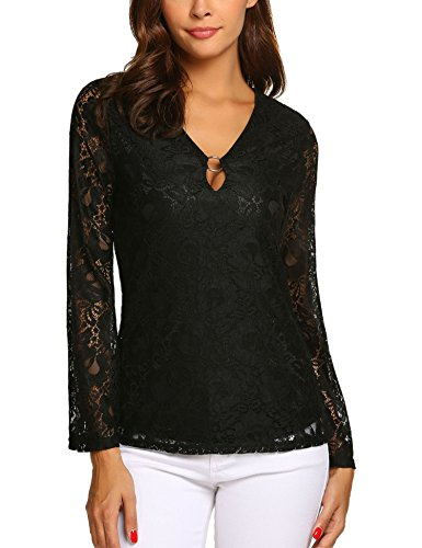 Lady's Sheer Lace Summer Sexy Neck Long Sleeve Plus Size Tops Black XXL -