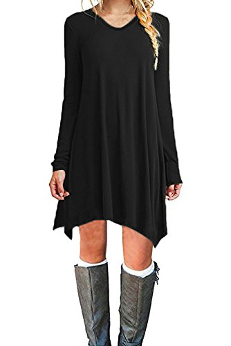 Zaitun Womens Casual Long Sleeve Loose T-Shirt Dress Mini Tunic Dress