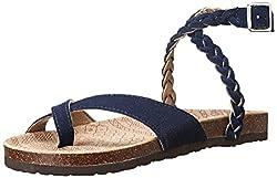Muk Luks Women's Zara Braided Strappy Sandal, Blue, 7 M US