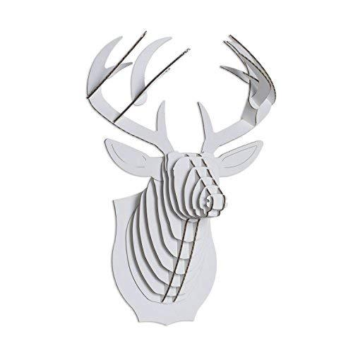 White Birch Head - Cardboard Safari Recycled Cardboard Animal Taxidermy Deer Trophy Head, Bucky (Micro, White)