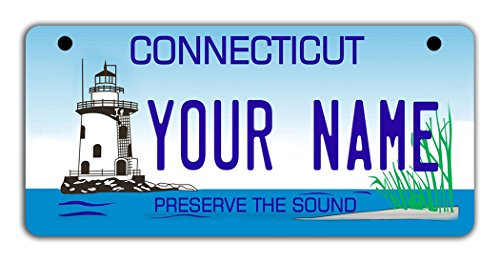 License Plate Scooter - BleuReign(TM Personalized Custom Name Connecticut State Motorcycle Moped Golf Cart License Plate Auto Tag