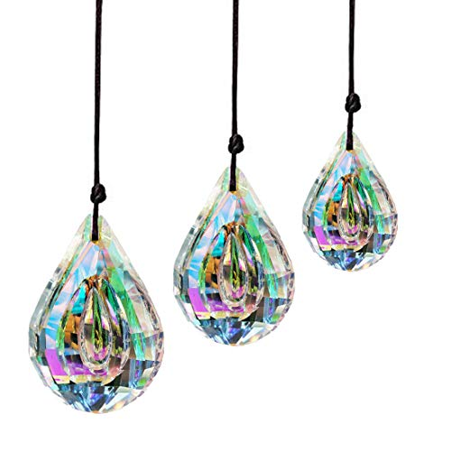 H&D HYALINE & DORA Crystal Prism Window Hanging Glass Sun Catcher 76mm/63mm/50mm AB Chandelier Parts,Pack of 3
