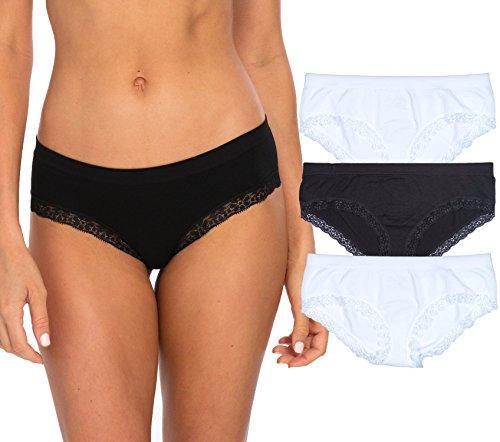 Rene Rofe Women\'s 4 Pack Seamless Hipster Panties, BW, Large' Black/White