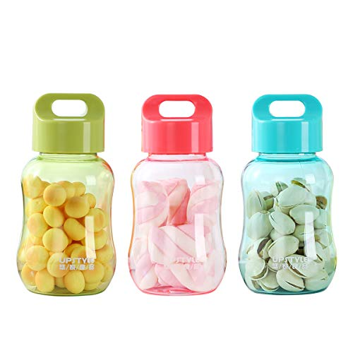 UPSTYLE 3-Piece 6oz Kids Small Water Bottle Food Grade Plastic Mini Cute Juice Travel Sports Wide Mouth Mugs in Bulk for Milk/Coffee/Tea Kitchen Storage Cups for Snacks Lunch Box(3 Colors)