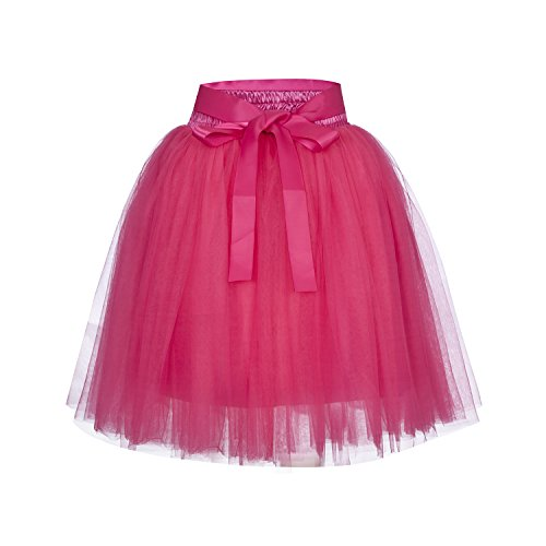 Style Princess Gowns Prom (NOVAVOJO High Waist Dance Petticoat Adult A-Line Tutus Women Tulle Skirt Bridesmaid/Wedding Flower Girl Gown Prom Party (Hot Pink))