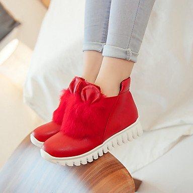Cómodo y elegante soporte de zapatos de las mujeres pisos primavera verano otoño invierno otros cuero sintético oficina y carrera parte y vestido de noche soporte de talón, color negro, rojo y blanco negro