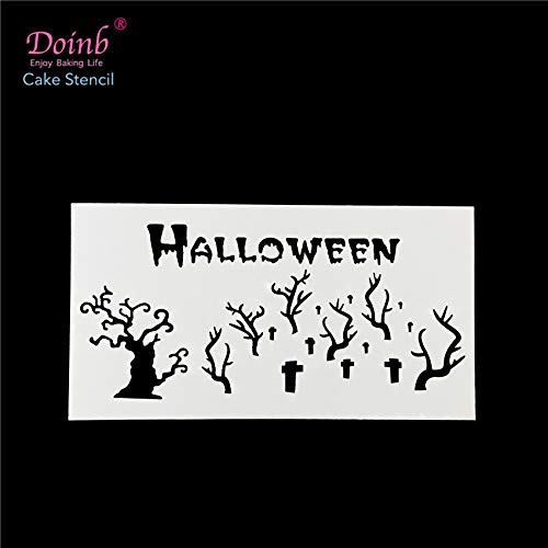1 piece Halloween Scary Cemetery Grave Stencil Pad Plastic Spray Flower Cake Mold Wall Painting Cupcake Baking Strew Tool Moulds FQ4126