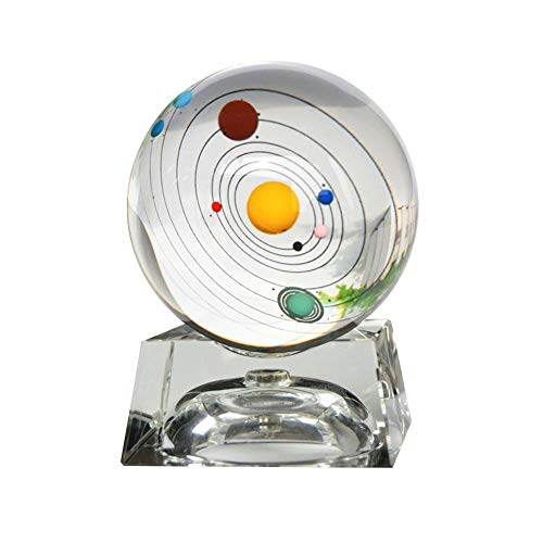 Led Crystal Miniature (Galaxy Crystal Ball LED Night Light 3D Laser Solar System Glass Sphere with Lighting Base Decorative Planet Miniatures Office Home Decoration Ornament Birthday Gift)
