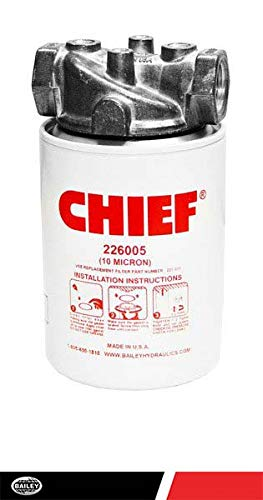 "Chief Spin-On Filters Assembly: 10 Filter Micron, 200 PSI, 20 GPM, 3/4"" NPTF Port, 15 PSI Bypass, with Indicator Ports, 226006"