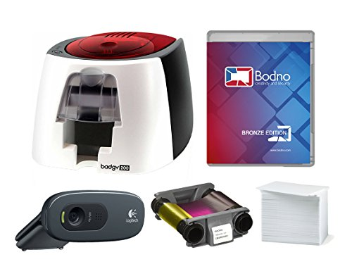 Badgy200 Color Plastic ID Card Printer with Complete Supplies Package with Bodno Bronze Edition ID Software & Camera