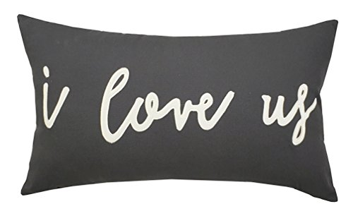 "DecorHouzz I Love us Appliqued Decorative Cushion Cover Pillow Cases Cover Standard Throw Pillow Case Couple Wedding Love Gift 14""x24"" (14x24, Grey)"