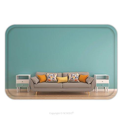Flannel Microfiber Non Slip Rubber Backing Soft Absorbent Doormat Mat Rug Carpet Green Mint Wall