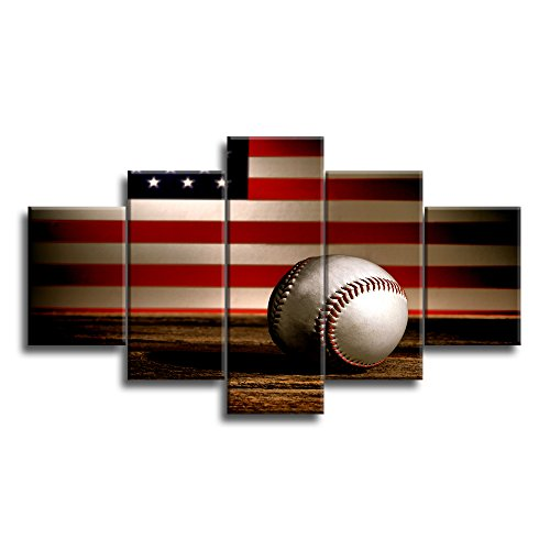 (VIIVEI USA US American Flag Baseball Canvas Prints Wall Art Thin Blue Red Line Home Decor Pictures for Living Room 5 Panel Large Poster Painting Framed Artwork Ready to Hang)