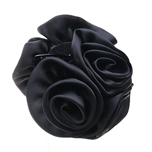 Rose Flower Bow Jaw Clip Barrette Hair Claws for Women Headwear Hair Accessories Black
