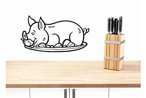 Top Selling Decals - Prices Reduced : Vinyl Wall Sticker : Pig On Platter Image Bedroom Bathroom Living Room Picture Art Peel & Stick Mural Size: 10 Inches X 20 Inches - 22 Colors Available