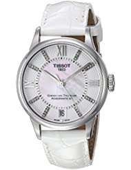 Tissot Women's 'T-Classic' Swiss Stainless Steel and Leather Automatic Watch, Color:White (Model: T0992071611600)