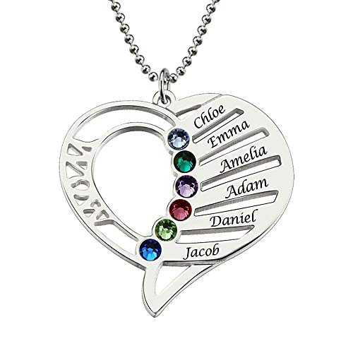 FACOCO Carved Name Necklace Birthstone - Personalized Heart Pendant - up to 6 Names(Silver 0)(Silver 18) ()