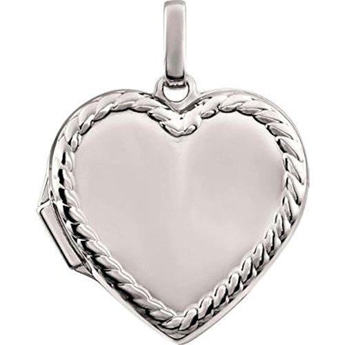 Bonyak Jewelry Heart Rope Design Locket in 14k White Gold