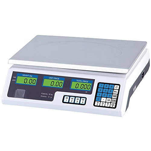Digital weighing scales 5g - 30kg with rechargeable battery or 230 volt cable - LCD display and stainless steel plate