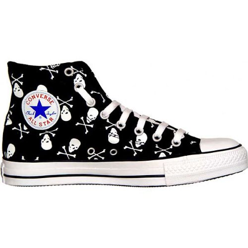 Converse All Star Calavera Chuck Taylor HI Black/White Skull 1q458 tamaño 37,5 (UK: 5)