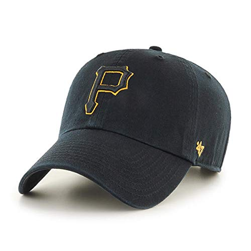 '47 Pittsburgh Pirates Black Yellow Outline Adjustable Clean Up Cap]()