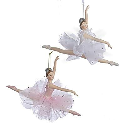 kurt adler pink and white ballerina christmas ornaments 2 assorted