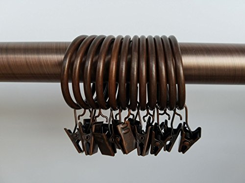 LiangTing 1.5'' Diameter Decorative Copper Matte Metal Curtain Clip Ring Set of 42 by LiangTing (Image #1)