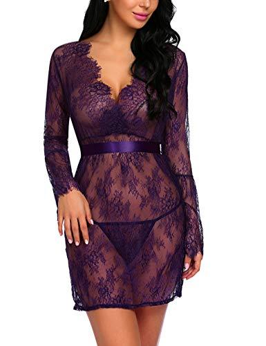 - Avidlove Lingerie Cover Ups for Women Sexy Lace Kimono Robe Mesh Chemise Nightgown Purple M