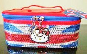 Hello Kitty con paillettes, misura grande, motivo: Union Jack, Borsa da viaggio da toeletta e cosmetici