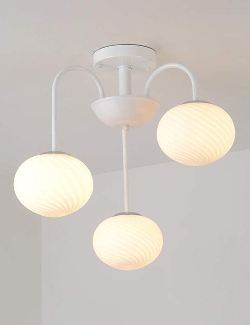 YANG Ceiling Light-American Village Iron Round Glass Shade Living Room Warmth Bedroom Simple Restaurant Energy Saving,5552cm,2