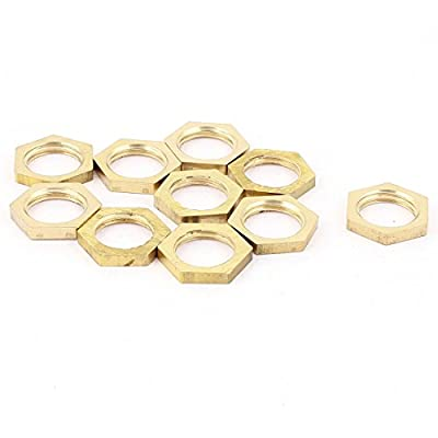 uxcell® 1/4BSP Female Thread Brass Pipe Fitting Hex Lock Nut 10pcs