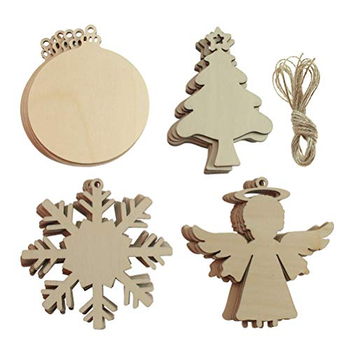 Creatrill 24 PCS 4 Styles Unfinished Wooden Christmas Ornaments, Snowflake/Christmas Tree/Angel, Paintable Wood Slices with Holes for Xmas Tree Hanging, Kids DIY