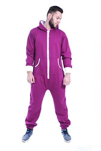 Newfacelook Mens Plain Colored Onesie Hoody All In One Zip Hoodie Jumpsuit