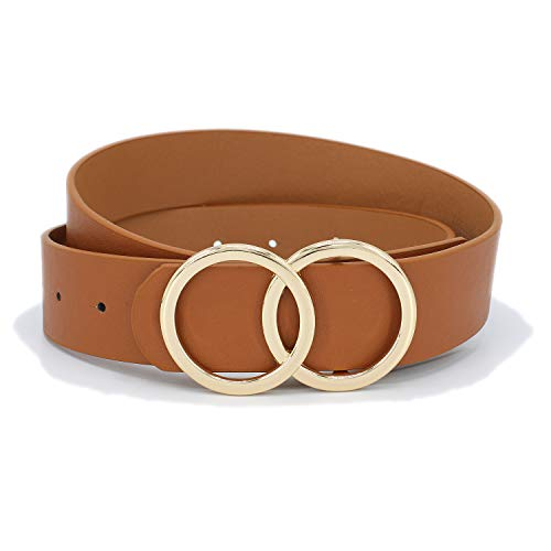 Women's Double Circle Pin Buckle Faux Leather Belt (TAN)