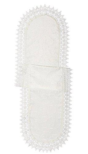 - Violet Linen Flower Bow Embroidered Lace Vintage Design Table Runner, 14