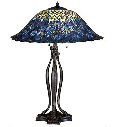 - Stained Glass Tiffany Style Light Peacock Feather Table Lamp