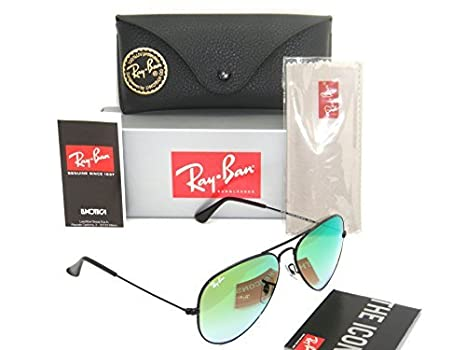 7c4b44aab2 Image Unavailable. Image not available for. Color  New Authentic Ray-Ban  Aviator Black   Green Gradient Mirror RB 3025 002 4J