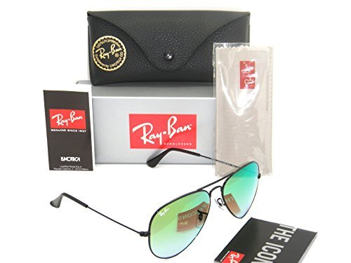 (New Authentic Ray-Ban Aviator Black / Green Gradient Mirror RB 3025 002/4J 55mm Small)