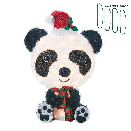 - Christmas Panda Yard Decoration Light Up LED Fluffy 26 Inch with Christmas Decoration Ornament Hooks 100 Count