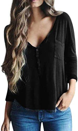 QIQIU Women Sexy V-Neck Casual Brief Cool Loose Solid Full Sleeve Button Blouses Fashion Shirts Tops