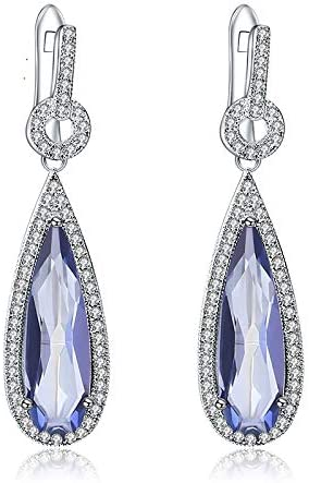 AdronQ 925 Plata esterlina Gota de Agua Natural Azul Cuarzo místico Piedras Preciosas Pendientes Colgantes joyería Fina para Mujeres