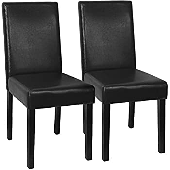 XtremepowerUS Urban Style Solid Wood Leatherette Padded Parson Dining Chair  SET OF 2, Small Size
